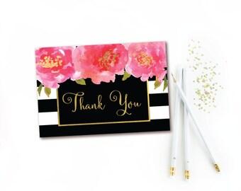 Black & White Stripe Pink Floral Thank You Card - INSTANT DIGITAL DOWNLOAD