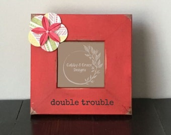 Double Trouble Twins Ultrasound Frame- Twins Frame- Twins Sonogram- Twins Pregnancy Announcement