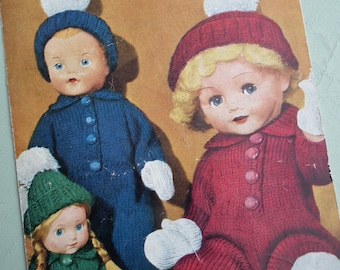 Vintage 1940s 1950s Knitting Pattern Dolls Clothes Outdoor Outfit - 8 12 16 inch dolls - 40s 50s original pattern Bestway No. B3027 UK