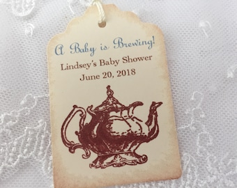 Boy Tea Party Baby Shower Tags Favor Tags Teapot Personalized Set of 10