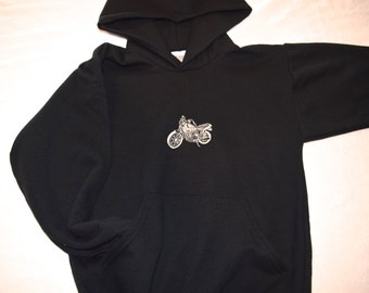 Hoodie CHILD Size Medium (10-12) Hooded Sweatshirt Motorcycle Embroidered on Hoodie - Ready to Ship