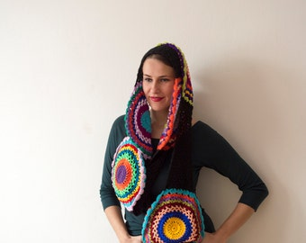 Multicolor Crocheted Circle Infinity Scarf- READY TO SHIP