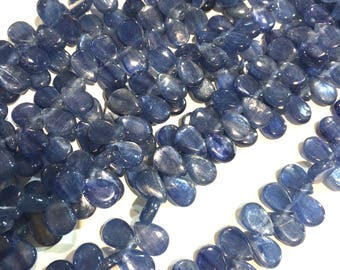 Natural Kyanite top side drilled teardrop beads