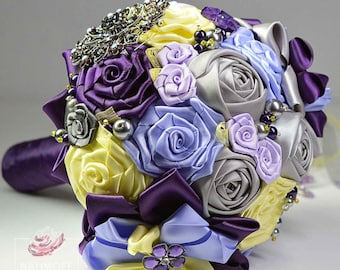 Purple Autumn Bridal Bouquet, Jewelry Purple Bouquet, Lilac and Grey Brooch Bouquet, Fabric Flowers Bouquet, Silk Flowers Bouquet