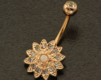 Flower Belly Button Ring. Opal Belly Ring.Gold Boho Piercing. Bohemian Rose Gold Belly Jewelry. Silver Body Navel Ring. Daisy Body Jewellery