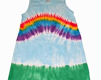 Rainbow Dress in  Light Blue with a Rainbow Tie Dye-Rinbow Dress for Girls- Girls Tie Dye Dress