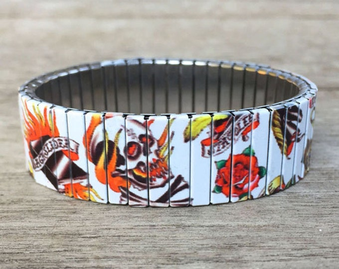 Tattoo bracelet, Old School, Stainless Steel, Repurpose Watch Band, Stretch Bracelet, Wrist Band, Sublimation, gift for friends