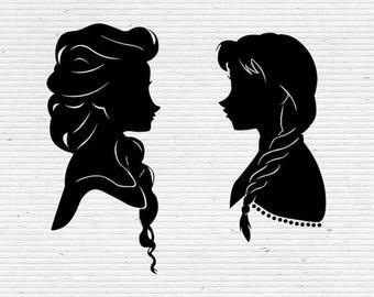 Frozen Sisters Elsa and Anna Disney Silhouette SVG Cut File, Digital Clipart, Editable Vector