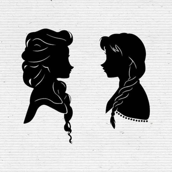 Frozen Sisters Elsa And Anna Disney Silhouette Svg Cut