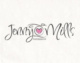 Photography logo - premade logo design - Watermark logo Camera logo heart logo
