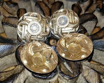 One, 1, pair, Vintage nautical brass post earrings