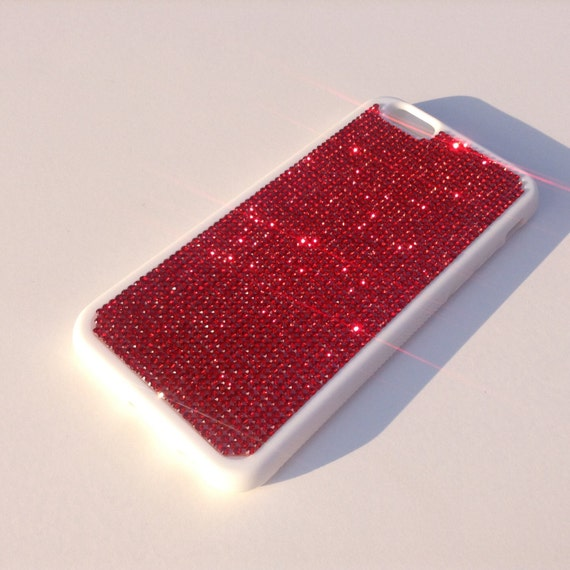 """iPhone 6 / 6s 4.7"""" Siam Red Rhinestone Crystals on White Rubber Case. Velvet/Silk Pouch Bag Included, Genuine Rangsee Crystal Cases"""