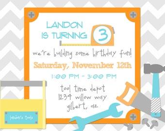 HANDYMAN TOOL TIME Printable Digital Birthday Invite by Petite Party Studio