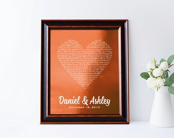 7th anniversary gift, 22 or 7 year anniversary, 22nd anniversary gift, copper anniversary gift