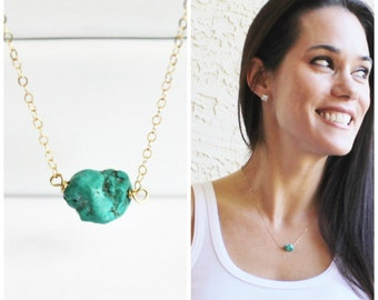 Genuine Turquoise Necklace, Turquoise Jewelry, Real Kingman Turquoise, Gifts for Her, Silver or Gold Layering Necklace, Boho Necklace