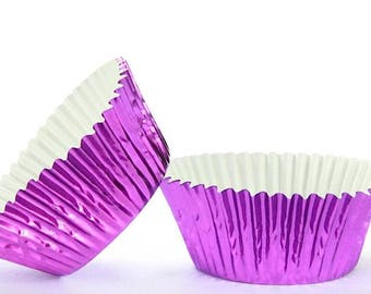 500pc Mini Purple Foil Baking Cup With Greasepoof Liner