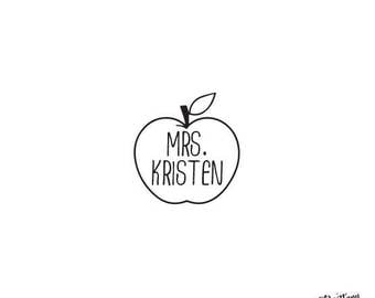 Personalized Custom Rubber Stamp or Self Inking  Teacher Stamp Homework Project School Apple Fruit Monogram Teacher  Gift Appreciation