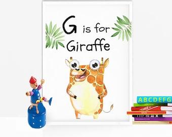 Giraffe print - Safari nursery decor - Safari nursery print - Gender neutral nursery decor - PRINTABLE - G is for print - Animal nursery