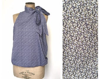 Liberty of London PEPPER Sessun Summer Ribbon Blouse French Vintage