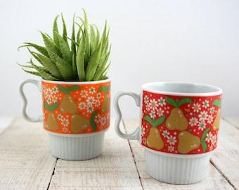 Vintage Mug Set, Vintage Mugs, Retro Mug, Retro Mugs, Retro Mug Set, Nevco, Retro, Vintage Kitchen, Mug, Pear, Pears, Mug Set, Vintage Pear