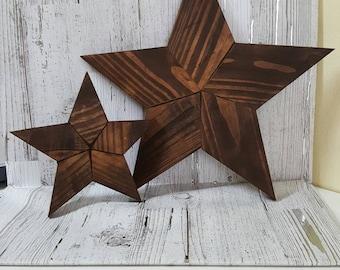 Rustic wood stars-reclaimed wood stars, set of 2