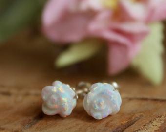 White Opal Earrings / Opal Stud Earrings / Rose Flower Opal Studs / White Gemstone Earrings / Floral Earrings / Mothers Day Gift