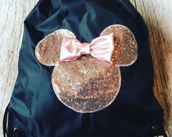Drawstring Backpack Minnie Mouse Inspired Rose Gold Sequin Silhouette to Match our Family T-Shirt Sets