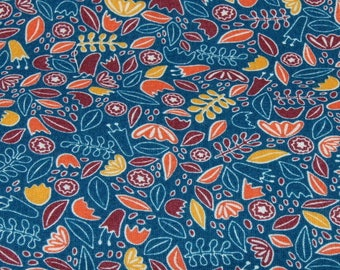 floral fabric 50cm your mustard, Orange 100% viscose blue duck