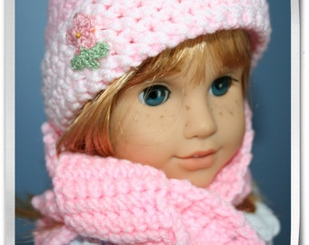 Crocheted pink hat and scarf.