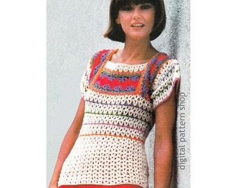 Crochet Top Pattern Striped Sweater Crochet Pattern Square Neck Blouse Pullover Sweater Womens Jumper Instant Download PDF Pattern- C165