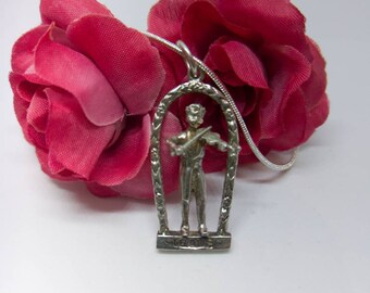 Sterling Silver violin player charm necklace