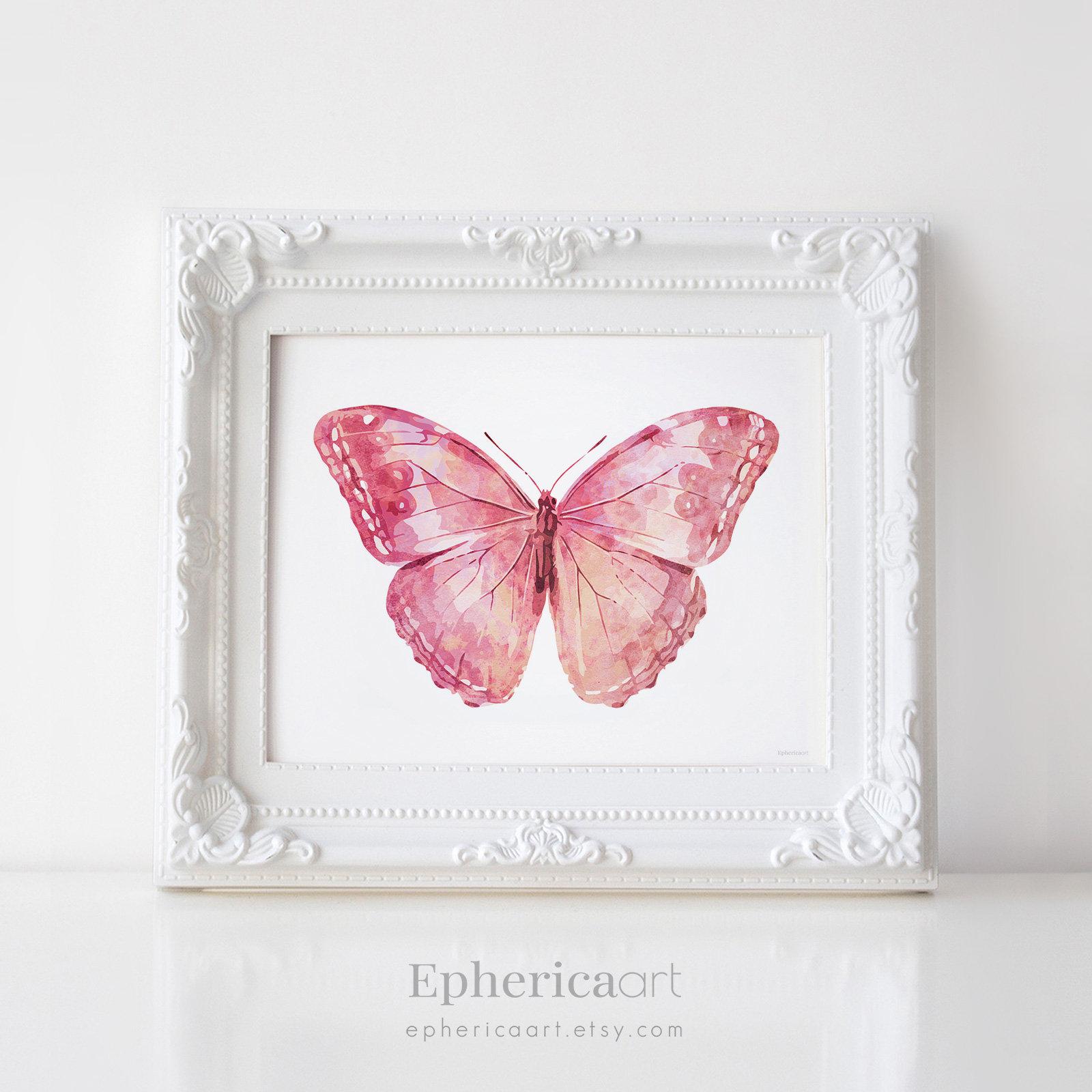 Girly Pink Nursery Decor: Pink Butterfly Art Print Girly Wall Art Bedroom Decor