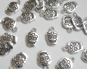 10 Sugar Skull Charms Day of the Dead skeleton antique silver 18x12mm P21061AS