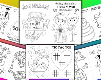 Kids Wedding Coloring Activity Book, Wedding Printable coloring pages, Personalized pdf file