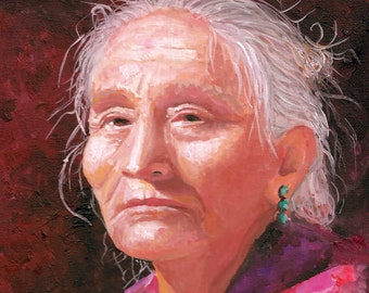 Fine Art Painting, Navajo Woman, by Patricia Carroll