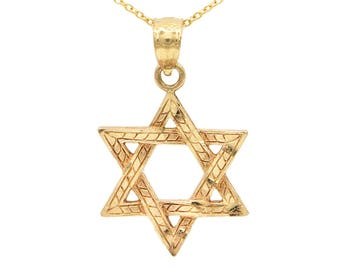 10k Yellow Gold Star of David Necklace with Polished Finish, Jewish Star Necklace Religious Pendant,Bar Mitzvah Gift or Bat Mitzvah Gift