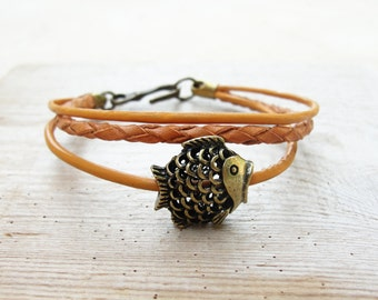 Pisces Leather Bracelet - Nautical Bracelet Beach Jewelry Leather and Metal