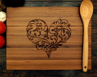 Personalized Wedding Gift, Custom Cutting Board, Ornamental Heart, Anniversary Gift, Bridal Shower Gift, Christmas Gift, Hostess Gift