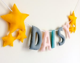 Star Name Banner | Baby Name Banner | Personalised Name Garland | Nursery Name Banner | Name Bunting | Nursery Bunting | Custom Nursery Sign