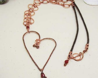 Bright Copper Bubble Chain Carnelian Heart  Necklace