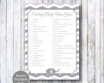 Purple & Gray Chevron Elephant Baby Shower Celebrity Baby Name Game Quiz - Printable Baby Shower Games - Celeb Baby - Gender Neutral