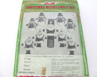 Vintage Bucilla Kit, 1960's Bucilla Santa, Snowman Felt Napkin Ring Kit, Christmas Napkin Ring, Vintage Christmas Felt Kit, 1960's Christmas