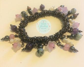 Handmade Black and Pastel Floral Charm Bracelet