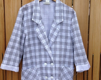 Vintage 1980's Checkered Structured Jacket