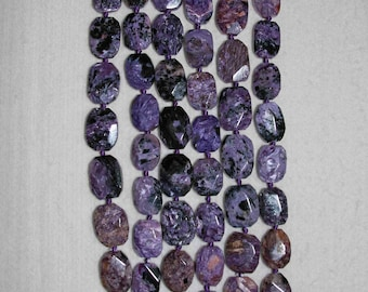 Charoite, Charoite Bead, Smooth Bead, Natural Stone, Irregular Octagon, Semi Precious, Russian Bead, Full Strand, 19-23 mm, AdrianasBeads