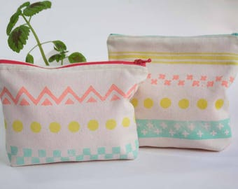 Multicolor Pouch hand printed - Ecru color cotton small bags printed in pink, yellow and aqua with geometric pattern