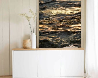 Abstract photography Water art Sea print Extra large wall art Black gold bathroom decor Large vertical art Large water print 24x48, 24x36