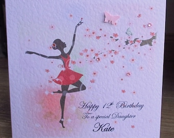 Personalised Blossom Dancer Birthday Card Any Relation any Text