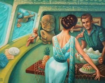 Le leurre - 8 x 10» Limited Edition Giclee Canvas Art Print par Atomikitty. Oeuvre d'inspiration Tiki, au milieu du siècle.