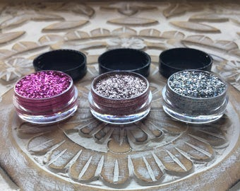 Rose Gold, Pinktastic, and stardust pressed glitter eyeshadow! Get any three shades! Rose gold, holographic pink, and holographic silver